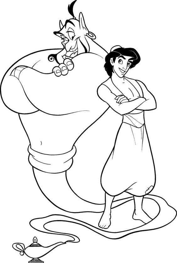 Aladdin para colorear ❺❺ 【DIBUJOS para descargar y Pintar】