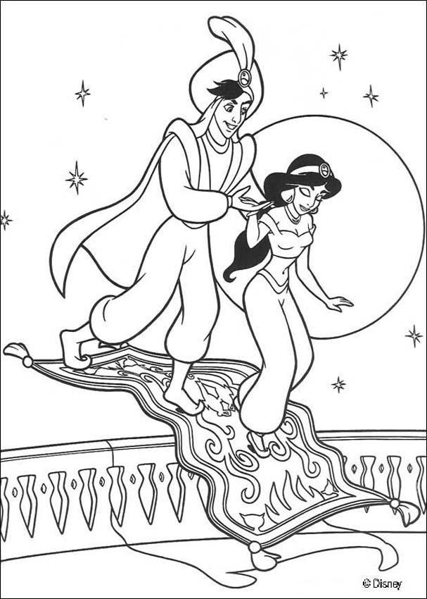 🥇 Aladdin para colorear 🥇 【 Dibujos para imprimir y pintar 】