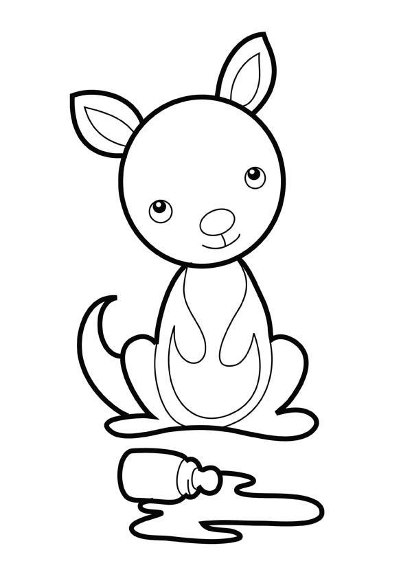 Kangaroo And Baby Coloring Page