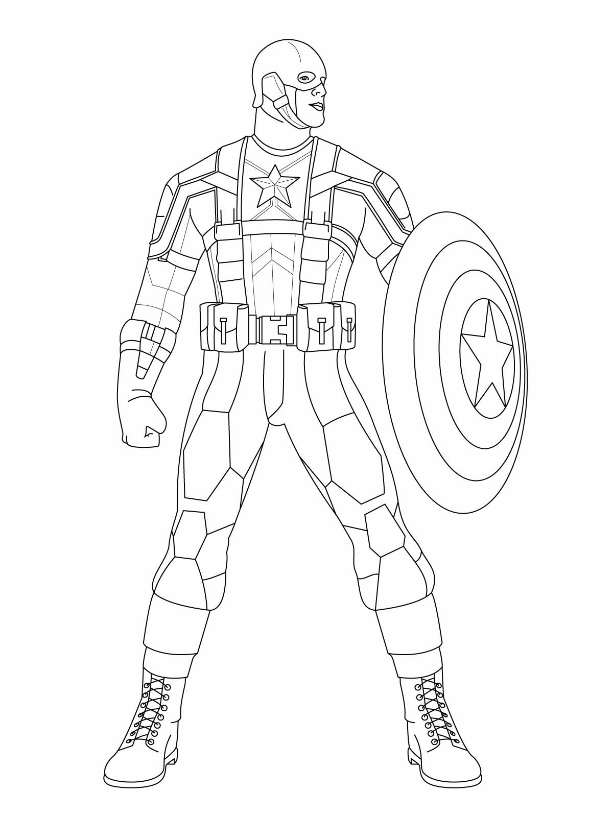 Capitan America para colorear ❺❺ 【DIBUJOS para descargar y Pintar】