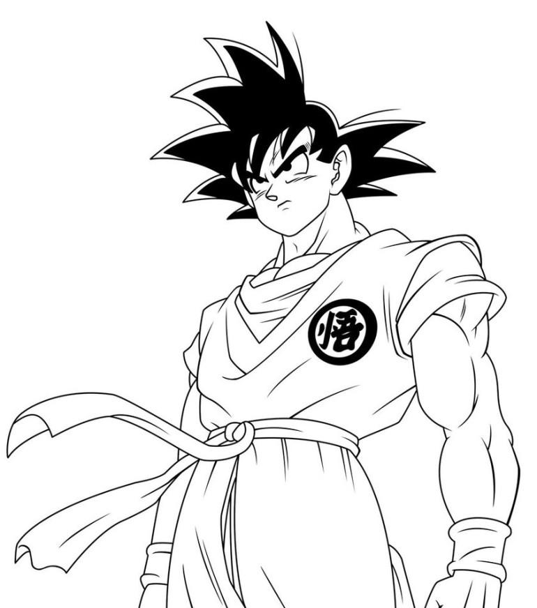 Goku para colorear ❺❺ 【DIBUJOS para descargar y Pintar】